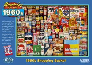 Image of a jigsaw puzzle boxed - Gibsons 1,000 pieces Memories Of The 1960s - '1960s Shopping Basket'