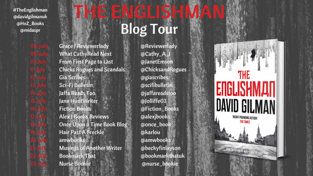 Image of the Blog Tour Banner for the book 'The Englishman' by author David Gilman