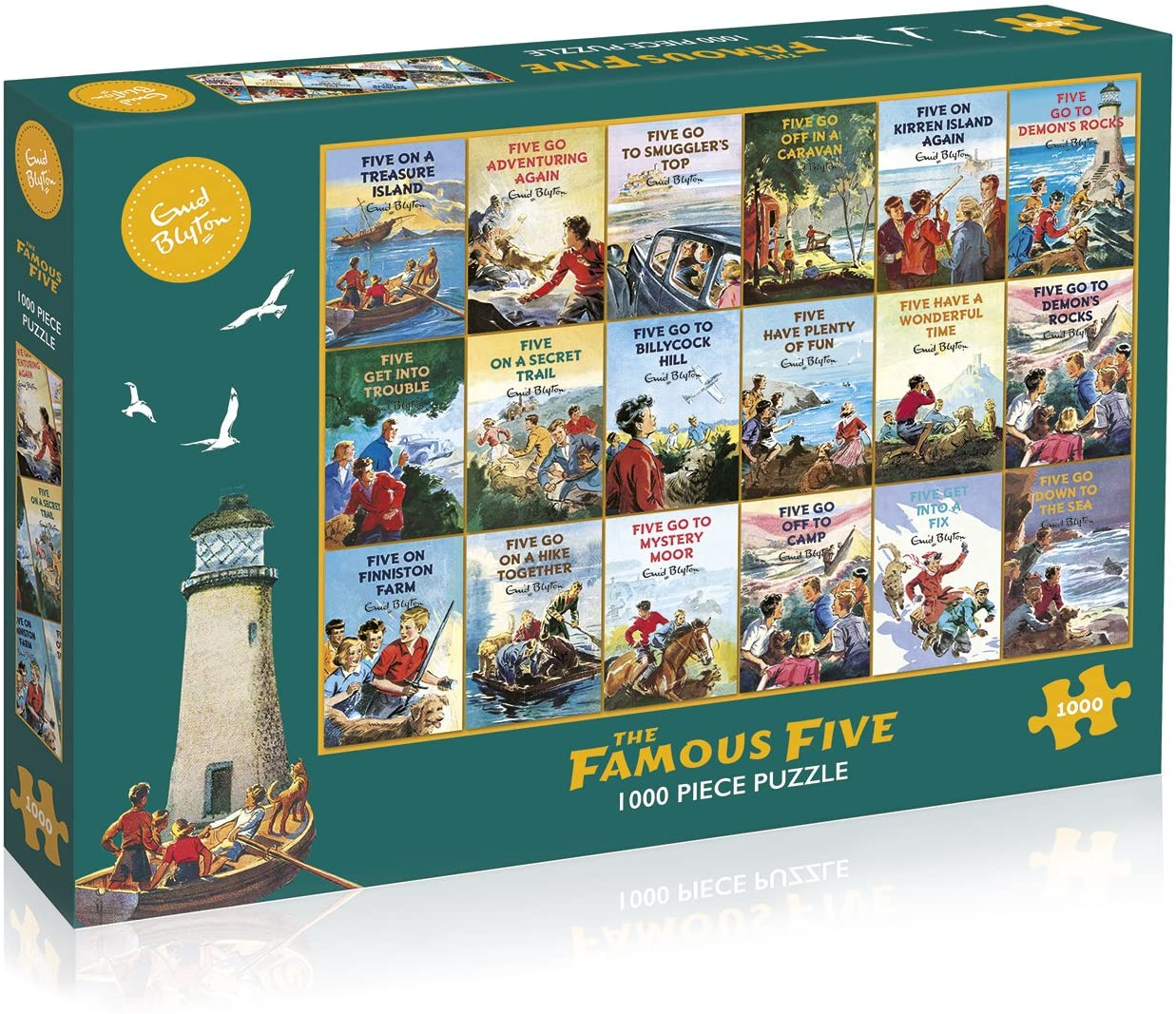 Box image of the Gibson's Jigsaw Puzzle 'Enid Blyton's Famous Five' featuring a selection of 18 book covers from the original series