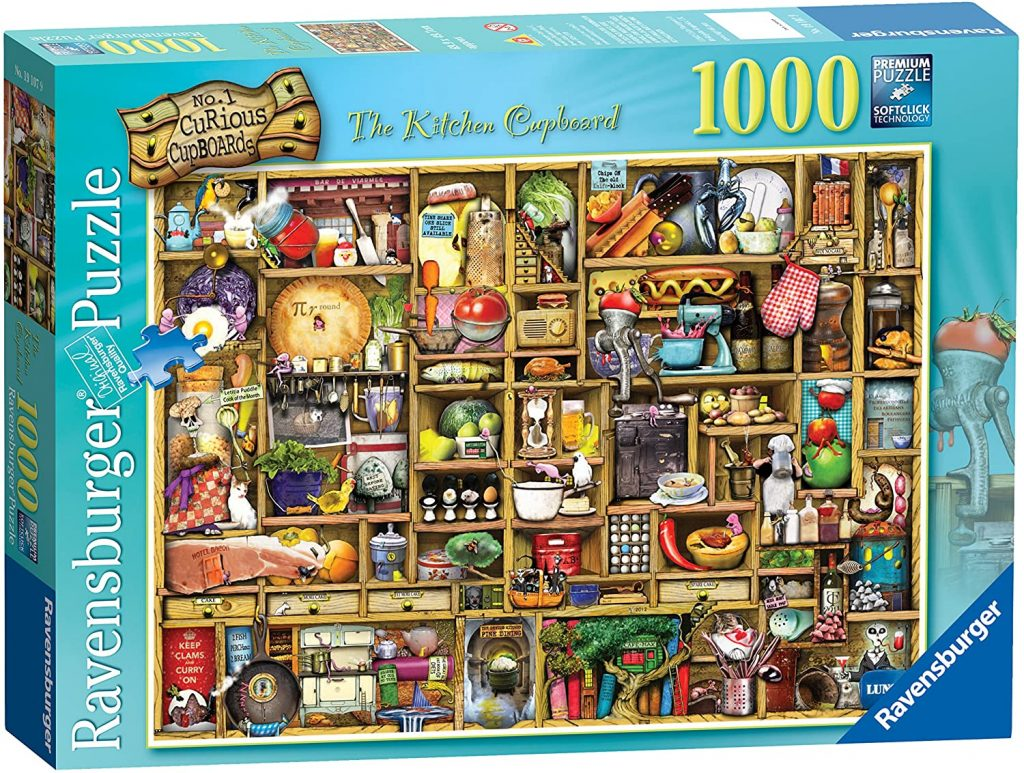 Image of a boxed Ravensburger jigsaw - 'The Kitchen Cupboard' 1,000 Pieces