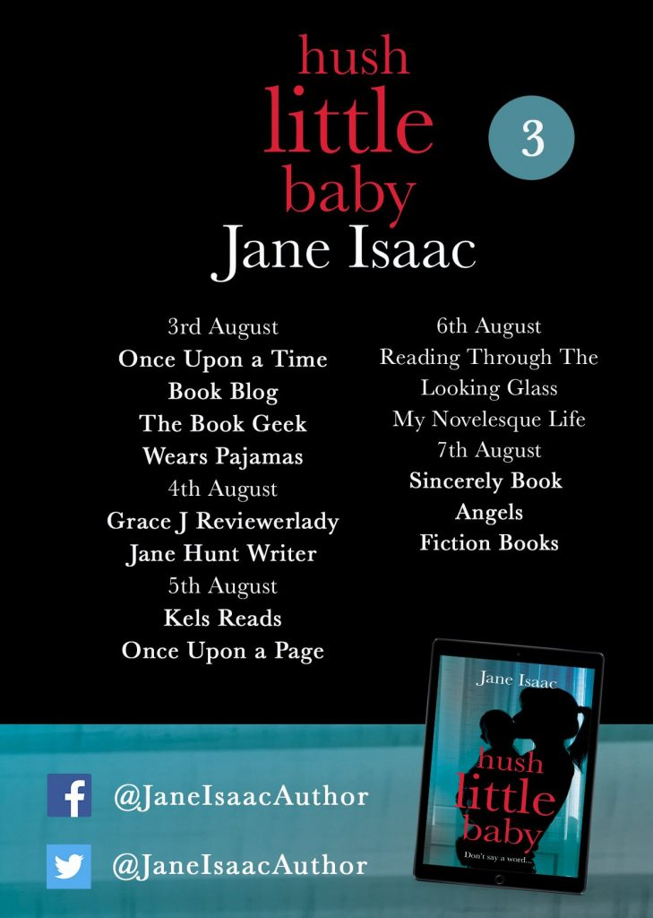 Image of page 3 of the B;og Tour Banner for the book 'Hush Little Baby' by author Jane Isaac