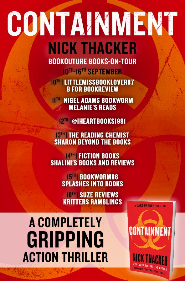 Image of the Blog Tour Banner for the book 'Containment' by author Nick Thacker