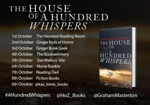 Image of the Blog Tour banner for the book 'The House Of A Hundred Whispers' by author Graham Masterton