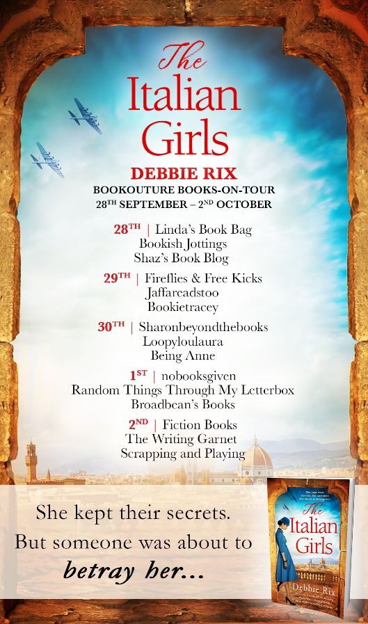 Image of the Blog Tour banner for the book 'The Italian Girls' by author Debbie Rix