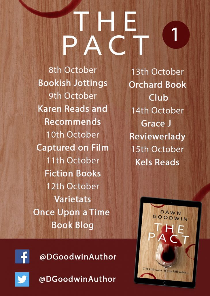 Image of the Blog Tour banner for the book 'The Pact' by author Dawn Goodwin