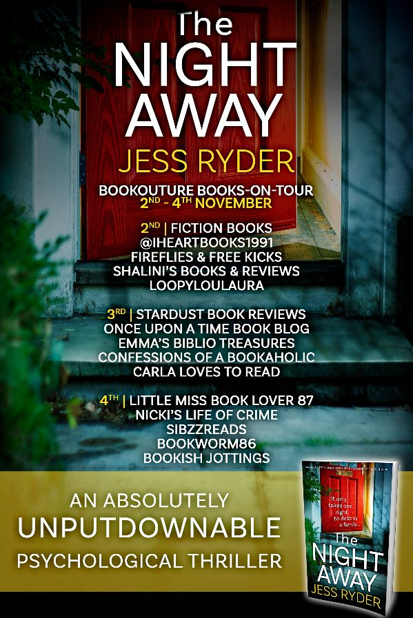 Image of the Blog Tour Banner for the book 'The Night Away' by author Jess Ryder