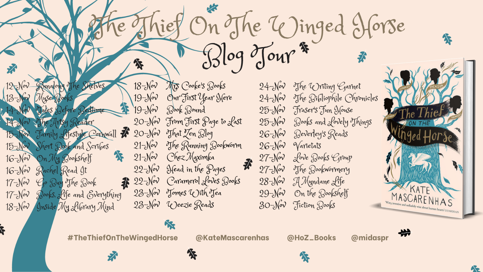 Image of the Blog Tour Banner for the book 'The Thief On The winged Horse' by author Kate Mascarenhas