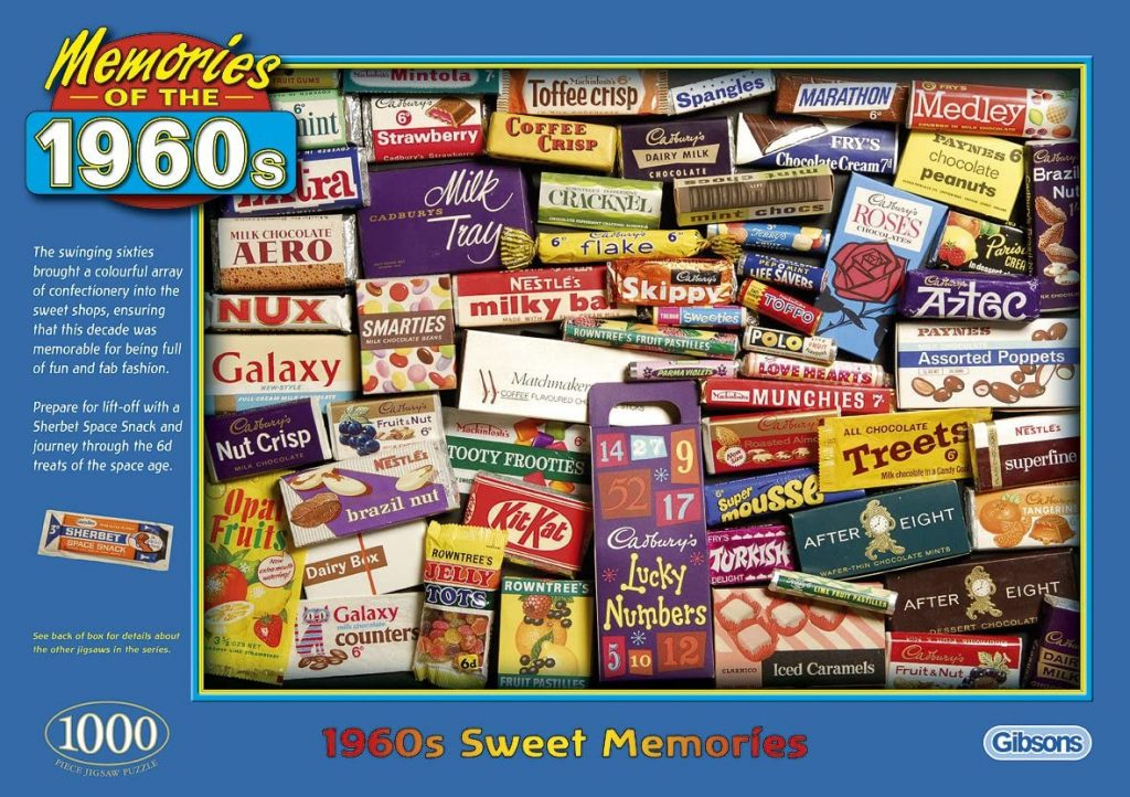 Box image of Gibsons 1,000 piece jigsaw puzzle 1960s Sweet Memories