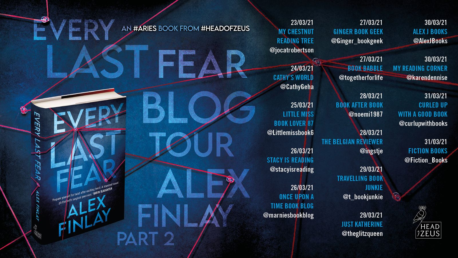 Image of part 2 of the Blog Tour Banner for the book 'Every Last Fear' by the author Alex Finlay