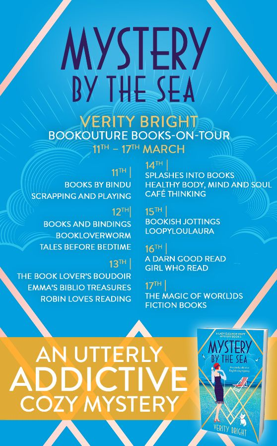 Image of the Blog Tour Banner for the book 'Mystery By The Sea' by Verity Bright