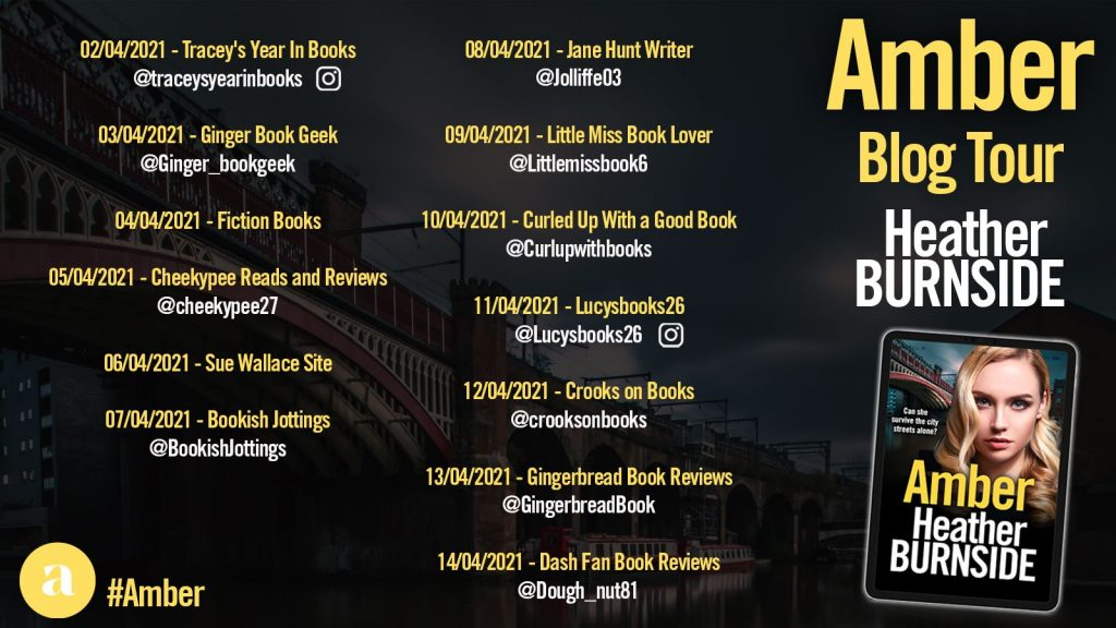 Image of the Blog Tour Banner for the book 'Amber' by author Heather Burnside