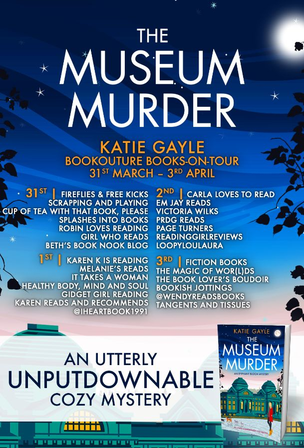 Image of the Blog Tour banner for the book 'The Museum Murder' by author Katie Gayle