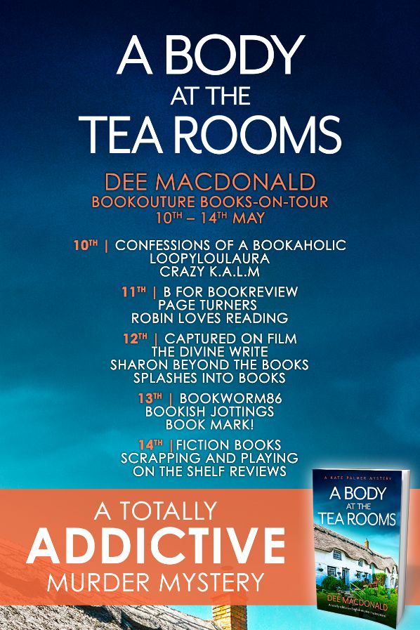 Image of the Blog Tour Banner for the book 'A Body At The Tea Rooms' by author Dee MacDonald