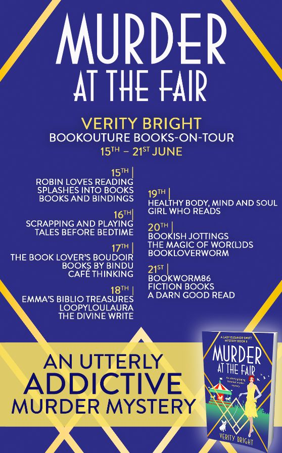 Image of the Blog Tour Banner for the book 'Murder At The Fair' by author Verity Bright