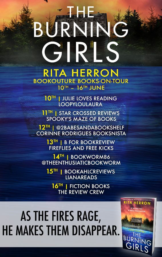 Image of the Blog Tour Banner for the book 'The Burning Girls' by author Rita Herron