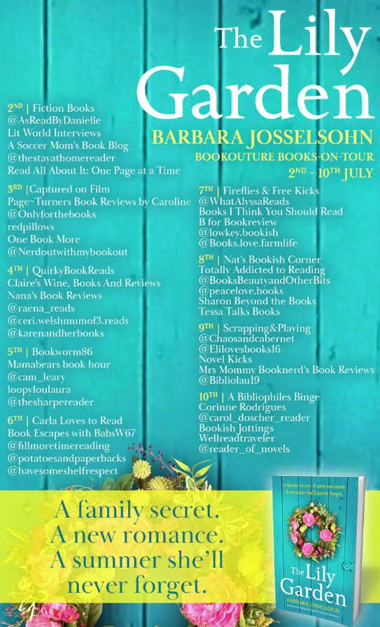 Image of the Blog Tour Banner for the book 'The Lily Garden' by author Barbara Josselsohn