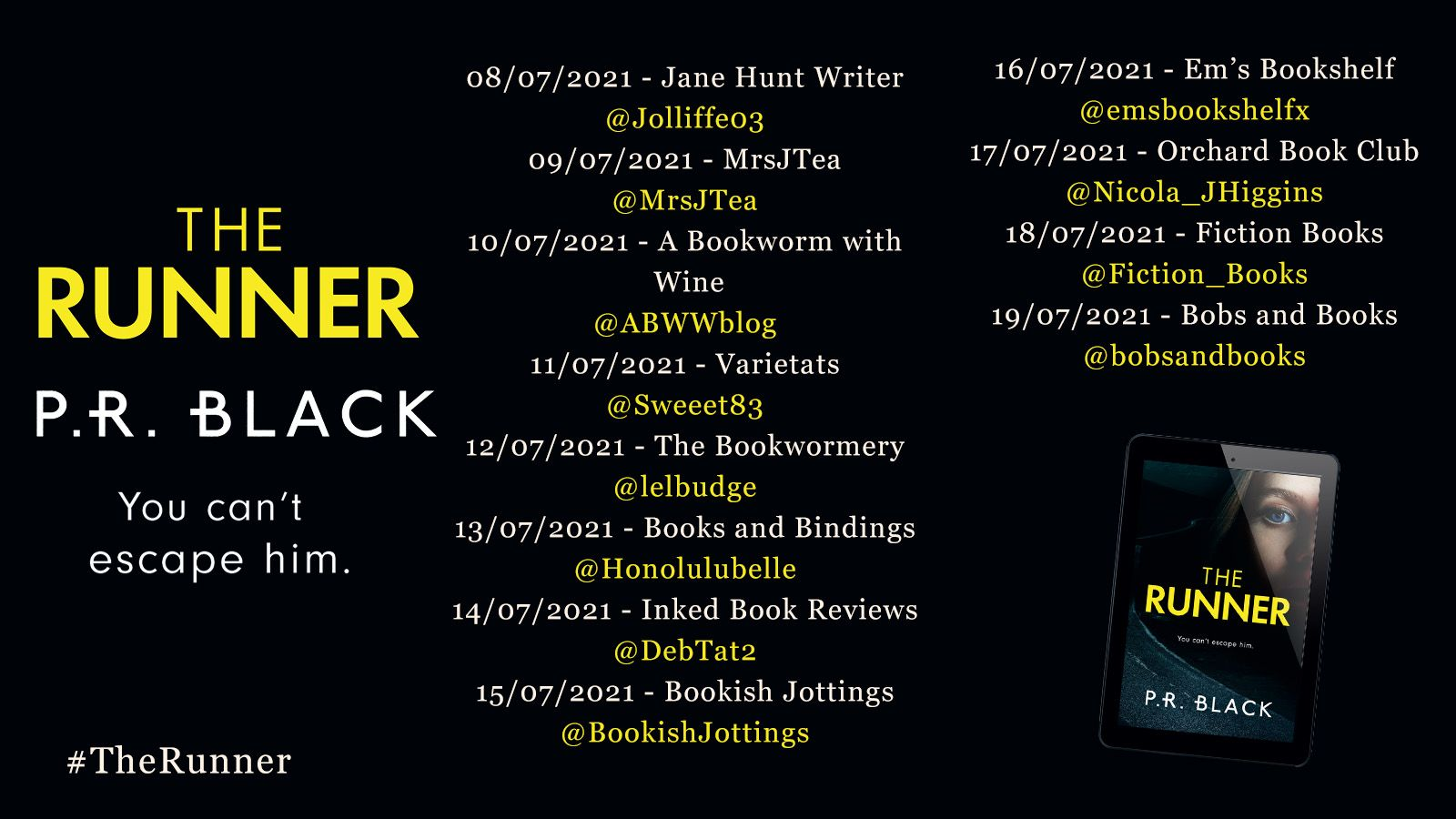 Image of the Blog Tour Banner for the book 'The Runner' by author P.R. Black