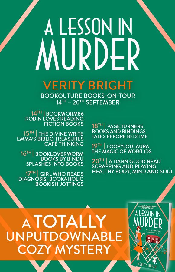 Image of the Blog Tour Banner for the book 'A Lesson In Murder' by Verity Bright