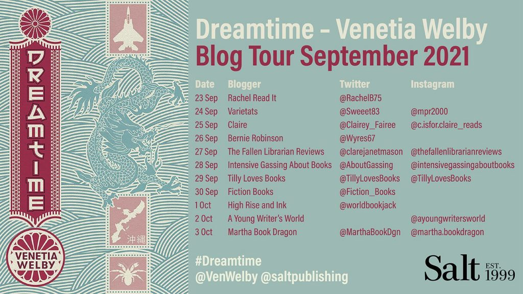 Blog Tour Banner for the book 'Dreamtime' by author Venetia Welby