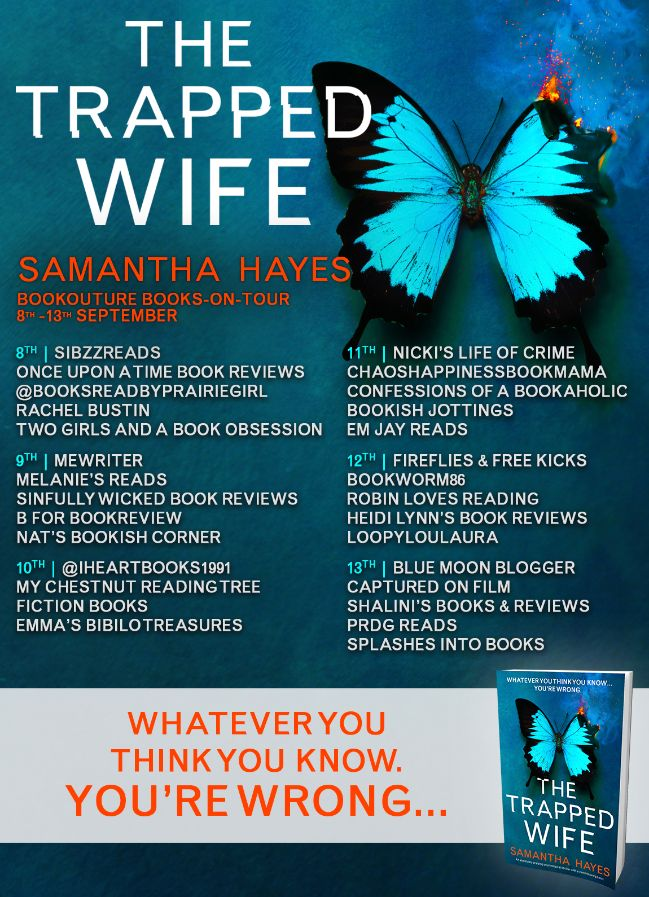Image of the Blog Tour Banner for the book 'The Trapped Wife' by author Samantha Hayes