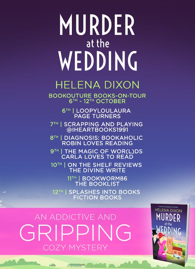 Image of the Blog Tour Banner for the book 'Murder At The Wedding' by Helena Dixon
